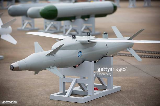 People's Liberation Army Air Force missiles stands on display during the China International Aviation Aerospace Exhibition in Zhuhai Guangdong...
