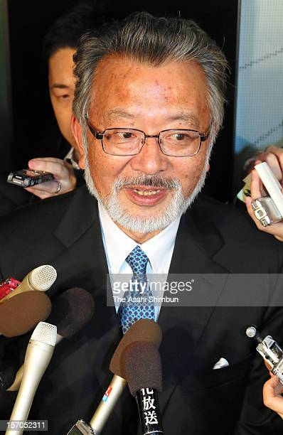 People's Life First Party general secretary Shozo Azuma speaks to media reporters to announce their merger to Nippon Mirai no Kai formed by...