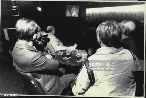 Peoples opinions of The Prime Ministers speech to the Nation of TV at the Revesby Workers ClubRight to left Keith Doherty Desmond A Brunker Jack...