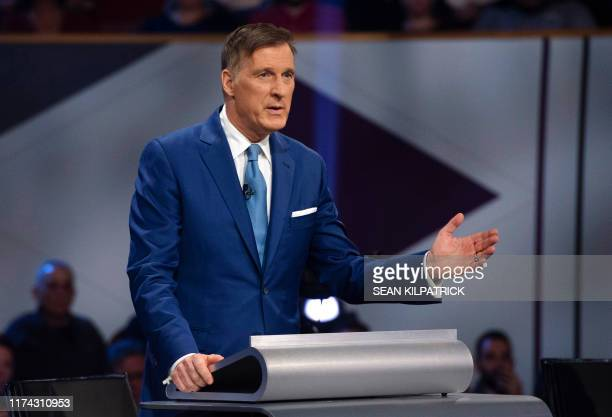People's Party of Canada leader Maxime Bernier speaks during the Federal Leaders Debate in Gatineau Quebec on October 7 2019