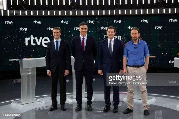 People's Party party leader Pablo Casado Spain's Prime Minister and Socialist Party leader Pedro Sanchez Citizens party leader Albert Rivera and...