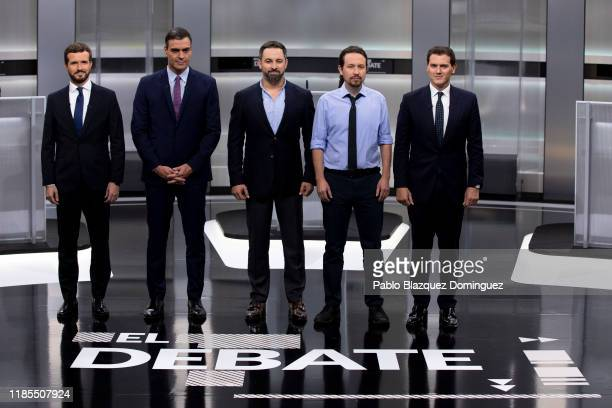 People's Party party leader Pablo Casado Spain's Prime Minister and Socialist Party leader Pedro Sanchez far right wing VOX party leader Santiago...