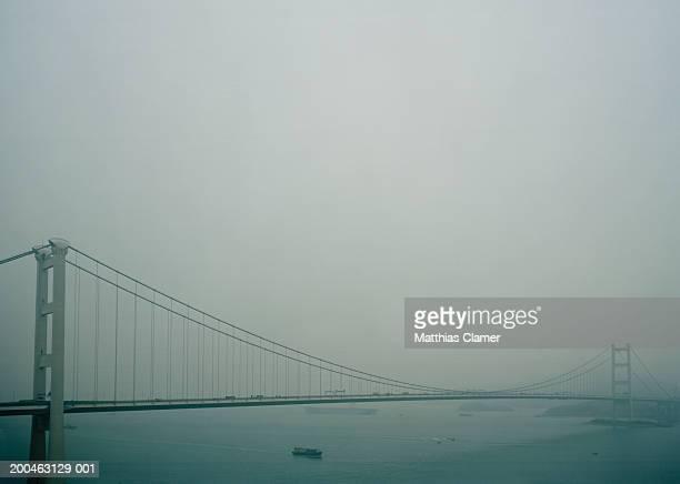 People's Republic of China, Hong Kong, Tsing Ma Bridge in haze