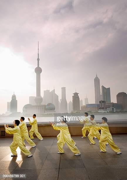 People's Republic of China, Shanghai, Bund, people practicing tai chi
