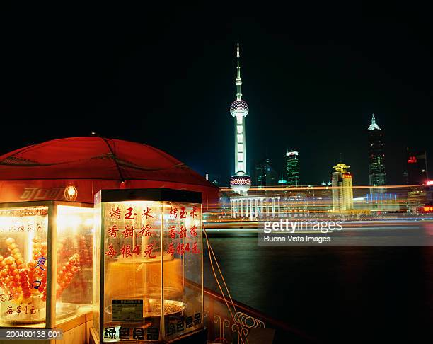 People's Republic of China, Shanghai, food stall on Bund, night