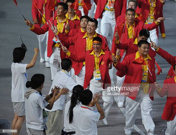 People's Republic of China's delegation parades during the 2008 Beijing Olympic Games opening ceremony on August 8 2008 at the National Stadium in...