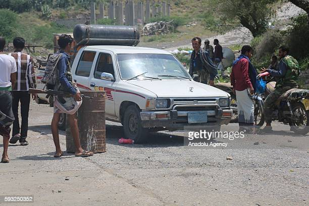 People's Resistance Forces loyal to President of Yemen Abd Rabbuh Mansur Hadi members are seen after they took control of Souq Al Dabab district from...