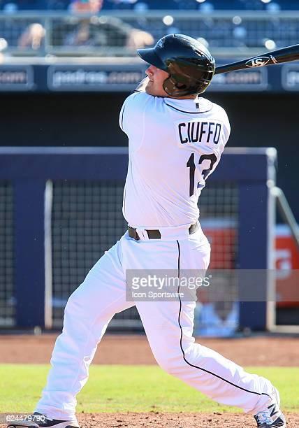 Peoria Javelinas Catcher Nick Ciuffo bats during the Arizona Fall League game between the Scottsdale Scorpions and the Peoria Javelinas on Thursday...