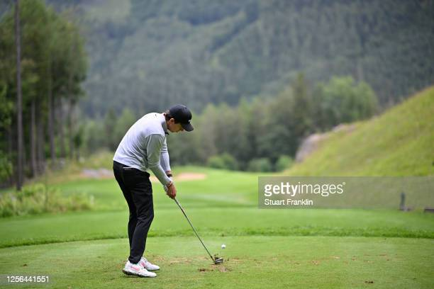 Pep Angles of Spain hits his tee-shot on the fifth hole during day two of the Euram Bank Open at Golf Club Adamstal on July 16, 2020 in Ramsau,...