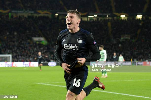 Pep Biel of FC Copenhagen celebrates after scoring his sides second goal during the UEFA Europa League round of 32 second leg match between Celtic FC...