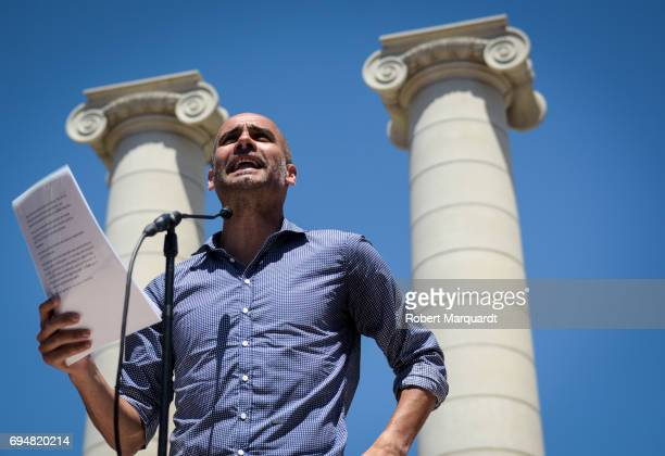 Pep Guardiola attends a rally in support of a referendum for Catalunya independence in Montjuic on June 11 2017 in Barcelona Spain The regional...