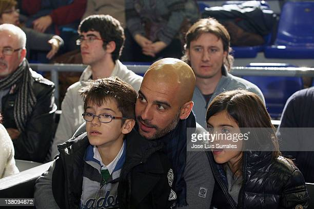 Pep Guardiola Coach of FC Barcelona with his children during the 20112012 Turkish Airlines Euroleague TOP 16 Game Day 3 between FC Barcelona Regal...
