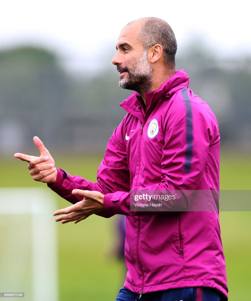 Pep Guardiola during Manchester City training at Etihad Campus on August 11, 2017 in Manchester, England.