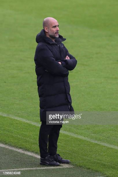 Pep Guardiola during the FA Cup Third Round match between Manchester City and Birmingham City at Etihad Stadium on January 10, 2021 in Manchester,...