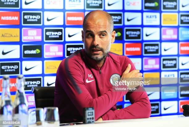Pep Guardiola during the Manchester City press conference on August 18 2017 in Manchester England