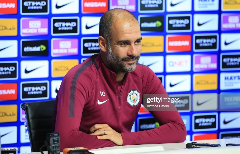 Pep Guardiola during the press conference at Manchester City Football Academy on October 13, 2017 in Manchester, England.
