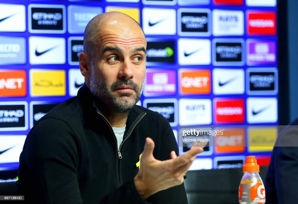 Pep Guardiola during the press conference at Manchester City Football Academy on December 22, 2017 in Manchester, England.