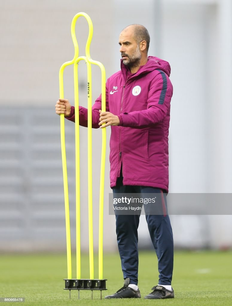 Pep Guardiola during training at Manchester City Football Academy on October 13, 2017 in Manchester, England.