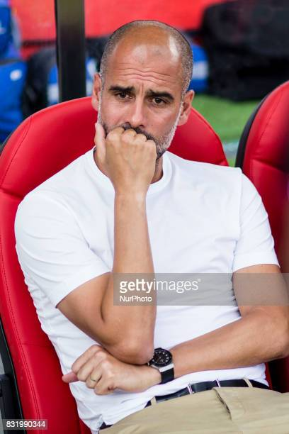 00 Pep Guardiola from Spain trainer of Manchester City during the Costa Brava Trophy match between Girona FC and Manchester City at Estadi de...