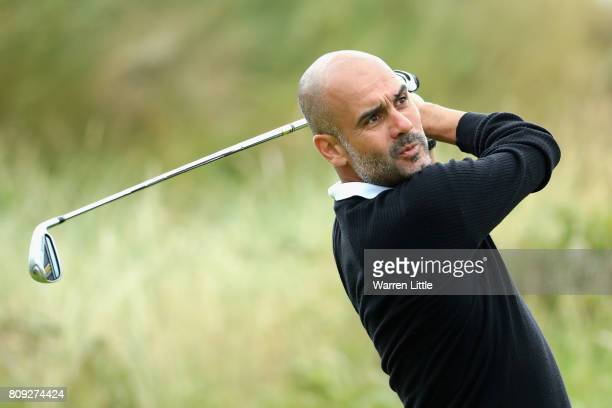 Pep Guardiola in action during the ProAm of the Dubai Duty Free Irish Open at Portstewart Golf Club on July 5 2017 in Londonderry Northern Ireland
