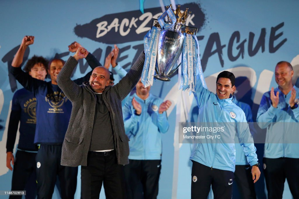Manchester City Players And Fans Celebrate Winning Premier League Title : News Photo