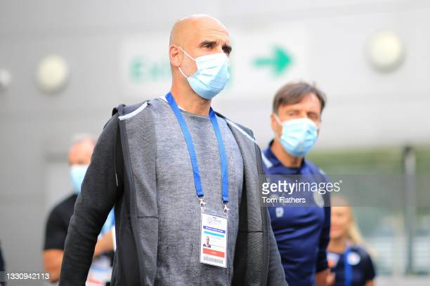 Pep Guardiola, Manager of Manchester City arrives at the stadium prior to the Pre-Season Friendly between Manchester City and Preston North End at...