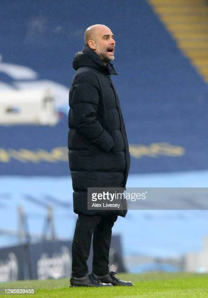 Pep Guardiola, Manager of Manchester City calls instructions during the FA Cup Third Round match between Manchester City and Birmingham City at...