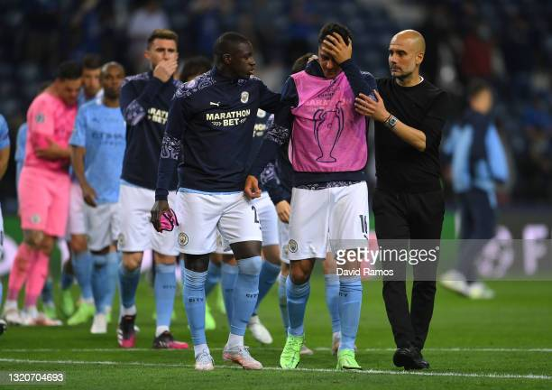 Pep Guardiola, Manager of Manchester City consoles Rodrigo following defeat in the UEFA Champions League Final between Manchester City and Chelsea FC...