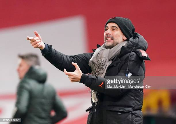 Pep Guardiola, manager of Manchester City during the Carabao Cup Semi Final match between Manchester United and Manchester City at Old Trafford on...