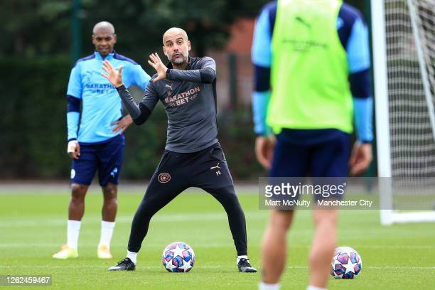 Pep Guardiola, manager of Manchester City in action during a training session at Manchester City Football Academy on July 29, 2020 in Manchester,...