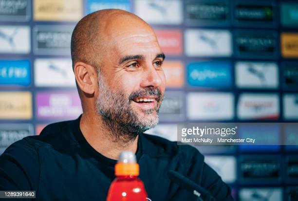 Pep Guardiola, manager of Manchester City in action during a training session at Manchester City Football Academy on December 04, 2020 in Manchester,...