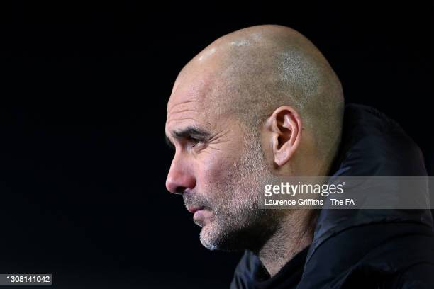 Pep Guardiola, Manager of Manchester City is interviewed following his side's victory in The Emirates FA Cup Quarter Final match between Everton v...