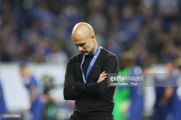 Pep Guardiola, Manager of Manchester City looks dejected after the UEFA Champions League Final between Manchester City and Chelsea FC at Estadio do...
