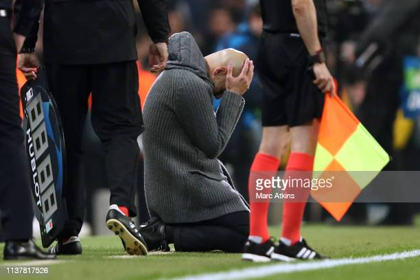 Pep Guardiola manager of Manchester City looks dejected as a goal is ruled out via a VAR decision during the UEFA Champions League Quarter Final...