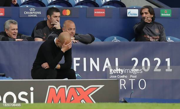 Pep Guardiola, Manager of Manchester City looks dejected during the UEFA Champions League Final between Manchester City and Chelsea FC at Estadio do...