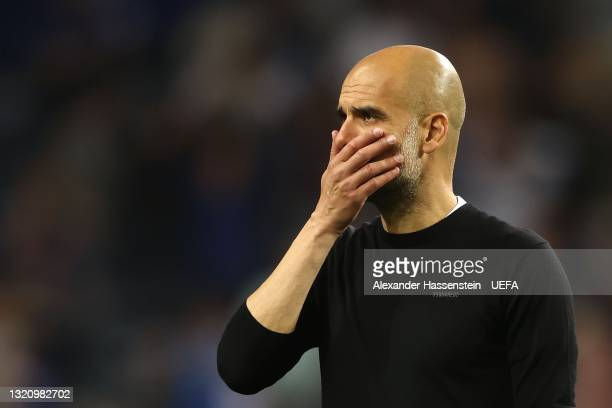 Pep Guardiola, Manager of Manchester City looks dejected following defeat in the UEFA Champions League Final between Manchester City and Chelsea FC...
