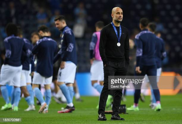 Pep Guardiola, Manager of Manchester City looks dejected following the UEFA Champions League Final between Manchester City and Chelsea FC at Estadio...