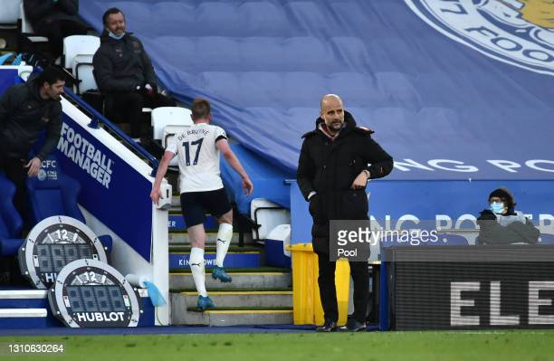 Pep Guardiola, Manager of Manchester City looks on during the Premier League match between Leicester City and Manchester City at The King Power...