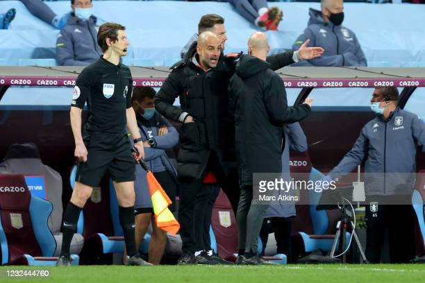 Pep Guardiola manager of Manchester City reacts after a red card for John Stones during the Premier League match between Aston Villa and Manchester...