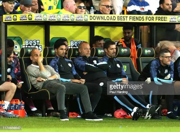 Pep Guardiola Manager of Manchester City reacts during the Premier League match between Norwich City and Manchester City at Carrow Road on September...