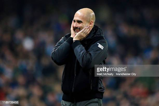 Pep Guardiola manager of Manchester City reacts during the Premier League match between Manchester City and Chelsea FC at Etihad Stadium on November...