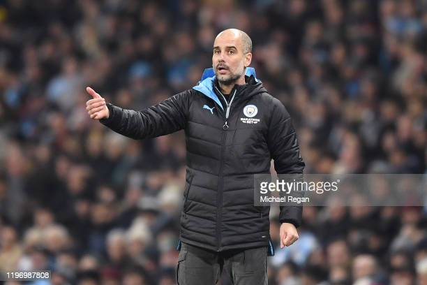 Pep Guardiola, Manager of Manchester City reacts during the Premier League match between Manchester City and Everton FC at Etihad Stadium on January...