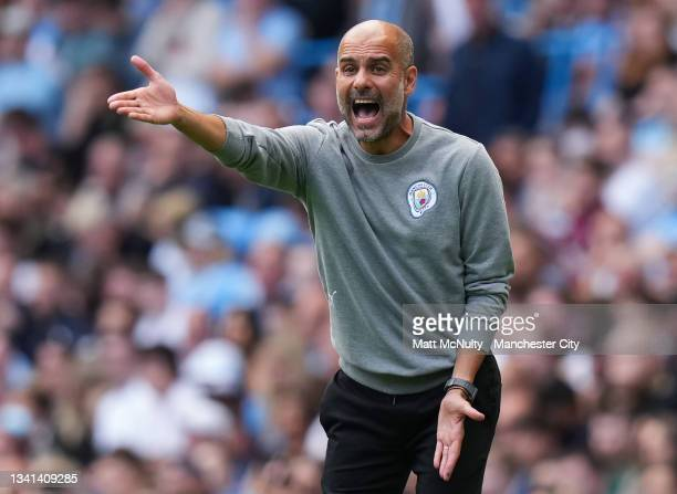 Pep Guardiola, manager of Manchester City reacts during the Premier League match between Manchester City and Southampton at Etihad Stadium on...