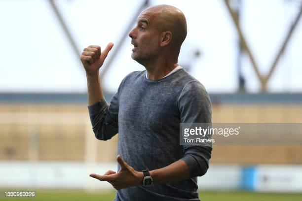 Pep Guardiola, Manager of Manchester City reacts during the Pre-Season Friendly between Manchester City and Preston North End at Manchester City...