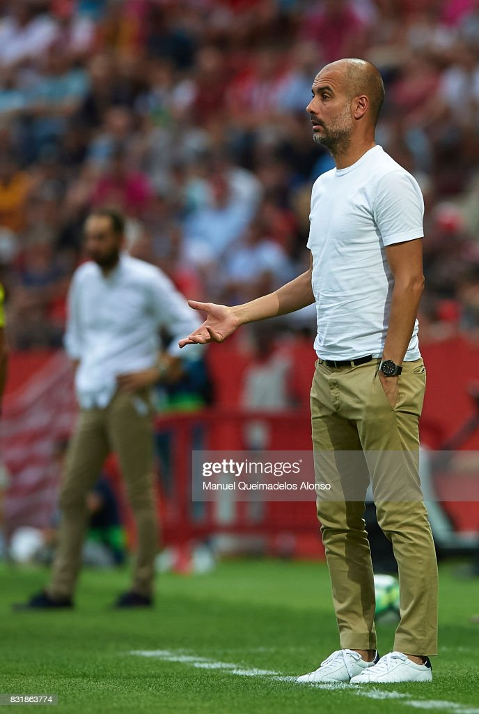 Pep Guardiola, Manager of Manchester City reacts during the pre-season friendly match between Girona and Manchester City at Municipal de Montilivi Stadium on August 15, 2017 in Girona, Spain.