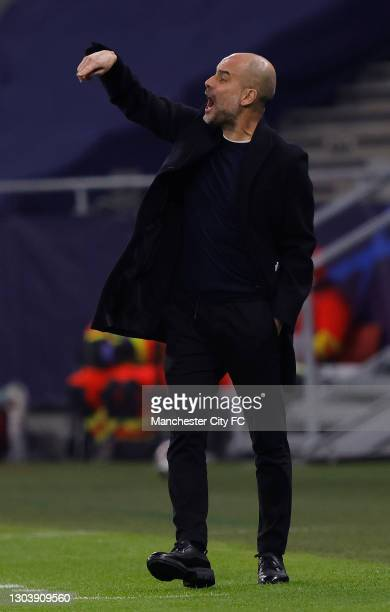 Pep Guardiola, Manager of Manchester City reacts during the UEFA Champions League Round of 16 match between Borussia Moenchengladbach and Manchester...