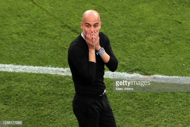 Pep Guardiola manager of Manchester City reacts during the UEFA Champions League Final between Manchester City and Chelsea FC at Estadio do Dragao on...