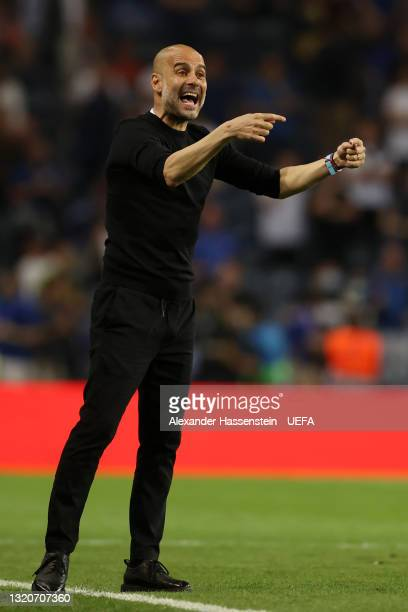 Pep Guardiola, Manager of Manchester City reacts during the UEFA Champions League Final between Manchester City and Chelsea FC at Estadio do Dragao...