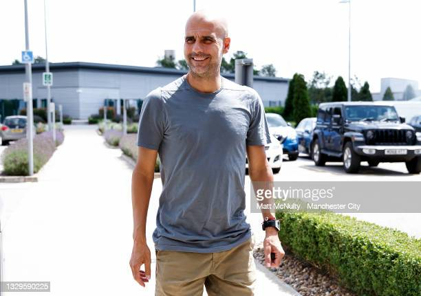Pep Guardiola, manager of Manchester City reports back to the Manchester City Football Academy for pre-season on July 19, 2021 in Manchester, England.