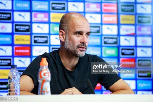 Pep Guardiola, manager of Manchester City speaks during a virtual press conference at Manchester City Football Academy on September 18, 2020 in...
